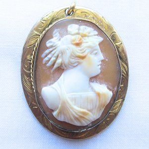 Vintage Metal and Natural Stone Pin of a Woman